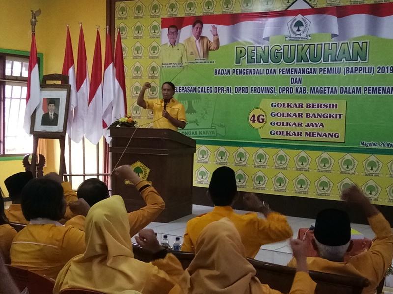Plt Ketua DPD Jatim, Zainuddin Amali, Memberikan Instruksi Kepada Caleg dan Kader Golkar Magetan.