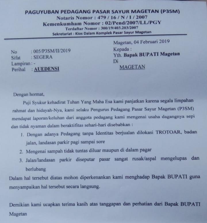 Surat P3SM  Untuk Bupati Magetan. ( Norik/Magetan Today).