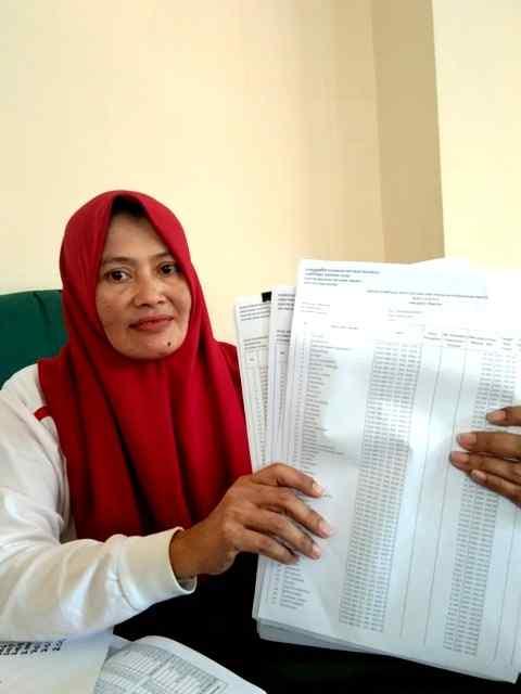 Kabid Penetapan dan Penagihan, Lilis Setyowati, Tunjukan Berkas Tunggakan PBB Yang Akan Dihapus. ( Norik/Magetan Today).