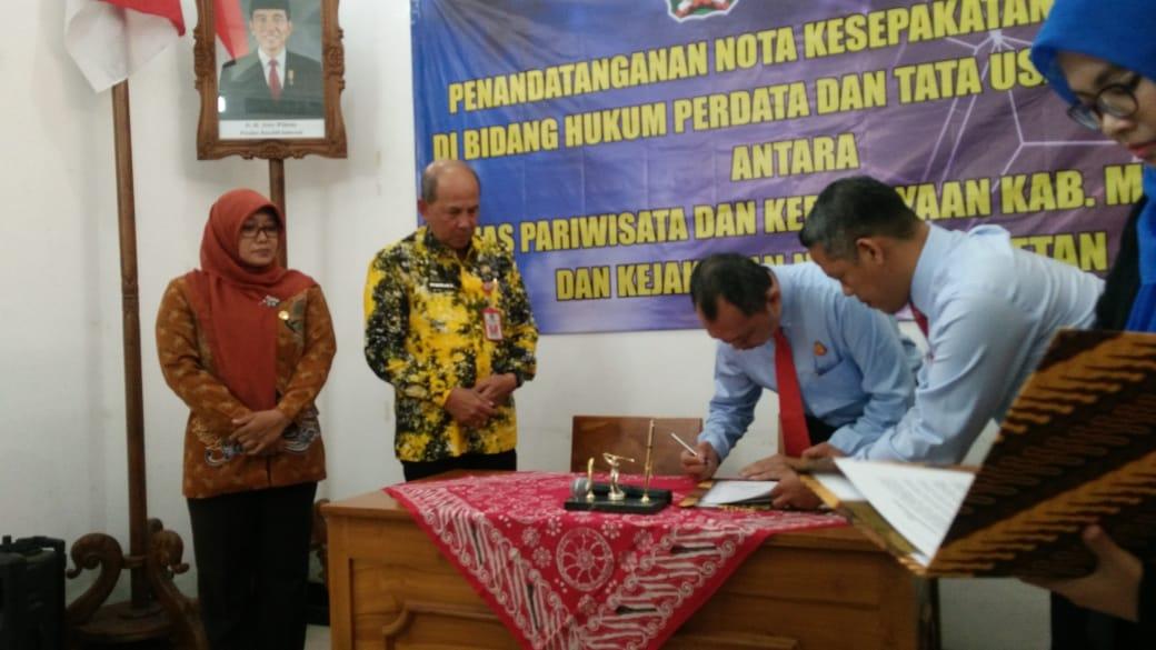 Disparbud Kabupaten Magetan MoU Dengan Kejari Magetan. ( Norik/Magetan Today)