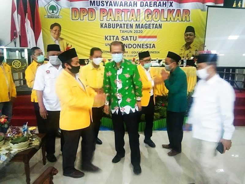 Bupati Magetan Suprawoto Hadir Dalam Musda Ke X DPD Partai Golkar Kabupaten Magetan. ( Norik/Magetan Today)
