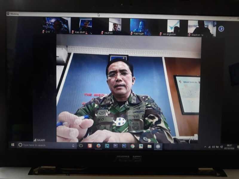 Danlanud Iswahjudi, Marsma TNI Widyargo Ikoputra Pimpin Rapat Staf Virtual. (Istimewa Pentak TNI AU)