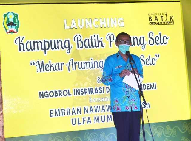 Bupati Magetan Suprawoto Memberikan Sambutan Dalam Lounching Kampung Batik Pragak. (Norik/Magetan Today).